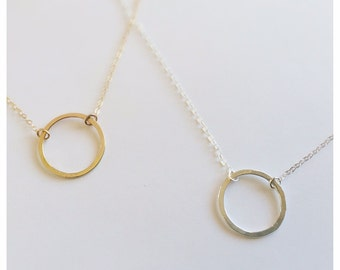 Gold Circle Necklace - Silver Circle Necklace - Geometric Necklace - Hammered Circle necklace - Argentium Silver - Free Shipping