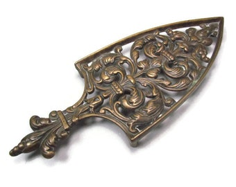 Large Ornate Vintage Solid Brass Trivet Fleur De Lis and Flourish