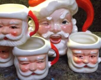 Vintage Winking Santa Jug And 4 Winking Santa Mugs