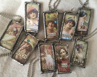 Soldered glass pendants - from bitches to angels, something for everyone