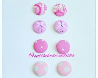 Breast Cancer Awareness Earrings, Fabric button earrings, Pink earrings, Think pink earrings, Stainless steel earrings