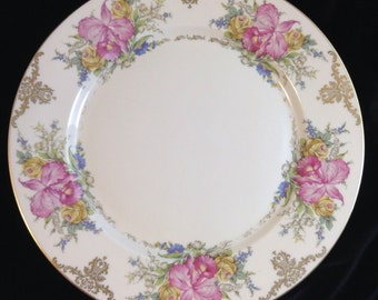 Vintage Rosenthal China Dinner Plate With Orchids, Selb-Germany US Zone, Circa 1908-1953, Winifred 10 Inch Plate with Orchids and Scrolls