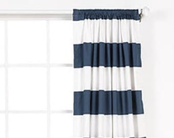 One pair navy and white cabana  stripe  curtains