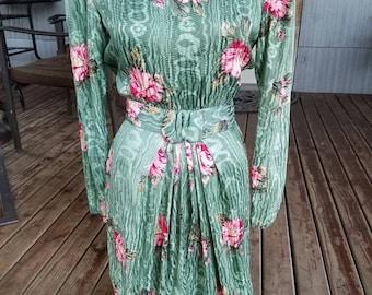 Maggy London Green Silk Dress