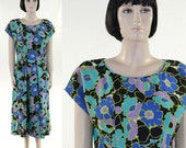 Vintage 1960s Women's Dress / Handmade / Blue Floral Dress / Silk Dress / Summer Dress / Not Hemmed