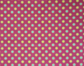 Michael Miller Fabrics by Patty Young * Grand Bazaar Sun Dot in Jewel * Fuchsia, yellow, turquoise fabric * 100% Premium Cotton * 1/2 Yard