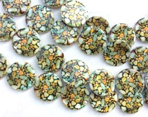 Mother of pearl Genuine Natural hand painted disk Beads sea shells  # S7335