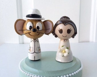 Looney Tunes Themed Wedding Cake Topper w/ customizable Bride and Groom!