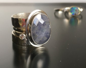 Artisan Sterling Silver Stackable Faceted Tanzanite Ring