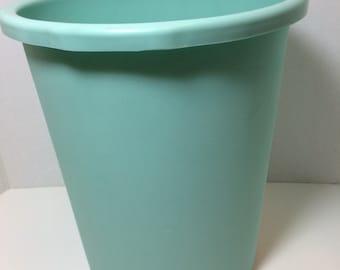 Vintage Aqua Blue Waste Basket Trash Can