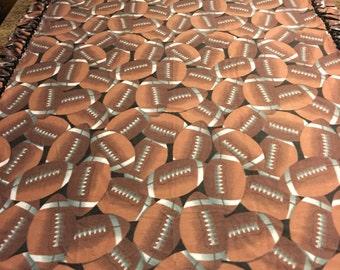 Football Fleece Blanket..No sew..Hand tied..Double layer..Reversible..Fringe..Throw..Gift