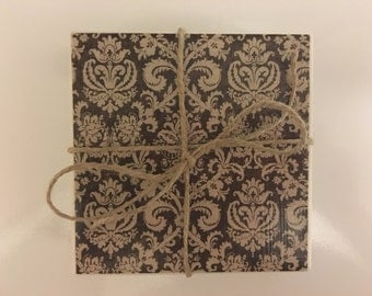Ceramic Tile Coasters..Damask..Chocolate Brown & Cream..Decoupage Tile Coasters..Set of 4..Gift