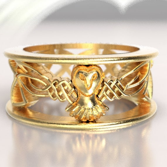 RESERVED FOR carlyk72 10 PAYMENTS Celtic Owl Wedding Ring, Gold Wedding Band, Gold Owl Ring, Unique Wedding Ring, Barn Owl, 10K Gold 1016