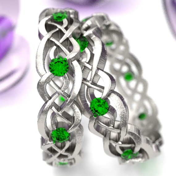 Emerald Eternity Ring Set, Celtic Infinity Band, Sterling Silver Wedding Band, Budget Wedding Ring, Woven Wedding Ring, Custom Size CR-1044