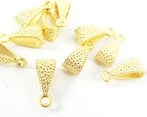 10 Dotted Pendant Bail Charm Holder Slider - 22K Matte Gold Plated
