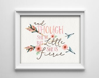 Nursery Art Print - Horizontal - And Though She Be But Little She Is Fierce - Peach - Bohemian - Arrows - BOGO - Nursery Decor- SKU:741