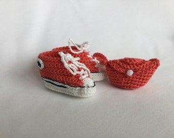 """Waldorf Doll Converse/Chucks Booties in Coral (Fits 12"""" DFH Sprite dolls)."""
