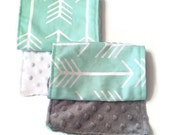 Two Gender Neutral Burp Cloths, Baby Arrow Burp Cloth by BizyBelle *Baby Gift