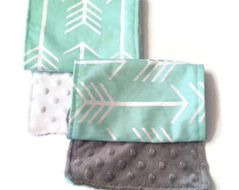 Mint Arrow • Burp Cloth Set • Tribal • Burp Rags • Mint Gray White • Minky • Baby Shower Gift • BizyBelle
