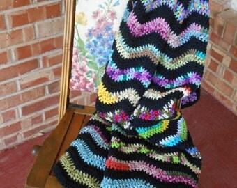 soft Crochet afghan, sofa throw, black & multi color ripple afghan, handmade sofa throw, multi color throw, soft couch afghan, Ready to ship
