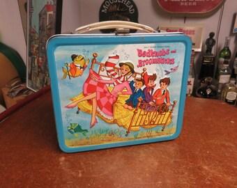 Vintage Bedknobs and Broomsticks Walt Disney Metal Lunch Box Alladin