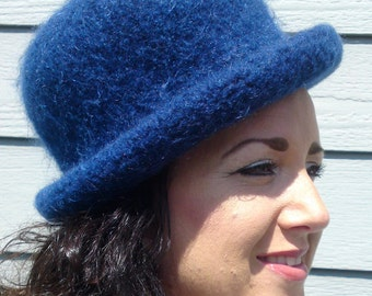 Bowler -- Dark Navy Rolled Brim Felted Hat