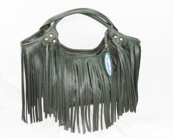 Khaki Green Leather Fringe Tote - Leather Purse - Fall Tote Bag - Autumn Purse - Made in USA