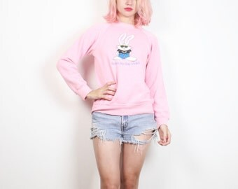 Vintage 1980s Pastel Pink Born To Be Wild Cartoon Bunny Rabbit Sweatshirt 80s Pullover Tshirt Kawaii Screen Print Novelty Jumper Top S Small