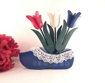 Tulips in Wooden Shoe Hand Painted Wood Holland Dutch Flowers Red White and Blue Home Decor