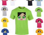 Supergirlygamer T-shirt Plush applique Mine mining pixel Craft Character