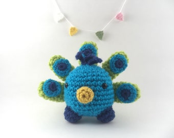 Mini amigurumi peacock, amigurumi peacock, crochet peacock, tiny peacock, blue peacock,kawaii, stuffed animal,peacock plushie, under 15