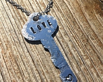 Hand Stamped Love Key Necklace