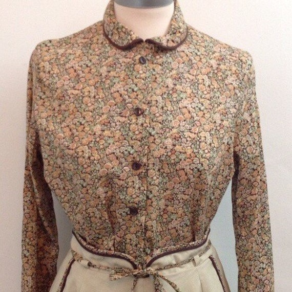 vintage Liberty of London blouse and skirt tana lawn floral cotton A line flared skirt UK 12 high waisted chintzy shirt outfit boho hippy