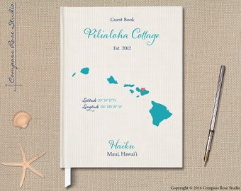 Personalized Vacation Rental Guest Book, State Map Guest Book, B&B Guest Book, Maui Vacation Guest Book, Housewarming, Hostess, Any State