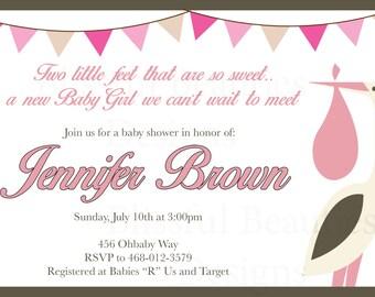 Stork Girl Baby Shower Invitation