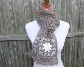 Crochet Grey Scarf, Granny Square Scarf, Flower Snowflake Scarf, Gray Scarf by CROriginals