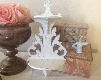 Small and highly detailed shabby chippy white shelf