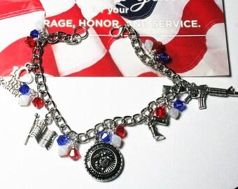 Marine Charm Bracelet, Military Charm Bracelet, Marine Bracelet, Military Family Gift, USMC Charm Bracelet, Marine Wife, Marine Mom
