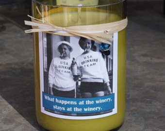 What Happens at the Winery recycled soy wine candle - Brandied Pear