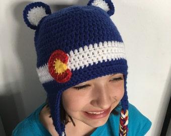 Crochet Colorado Flag Bear Earflap Hat- Baby, Child, Teen, Adult, Sizes Blue, Red, White and Yellow,  Colorado Hat