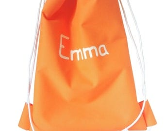 Small backpack kids water resistant-orange-Size 25x30cm-Entirely washable-Personalized with kids name by deaconcept
