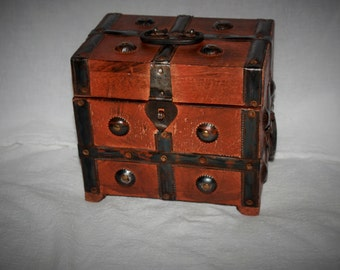 Vintage Oak and Brass Small Chest Top and Side Handles