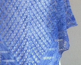 Hand Knitted Lace Shawl in Merino and Bamboo Lace Yarn