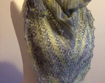 Hand Knitted Lace Triangle Scarf / Shawl in BFL Lace yarn
