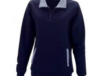 NAVY Gingham Pullover