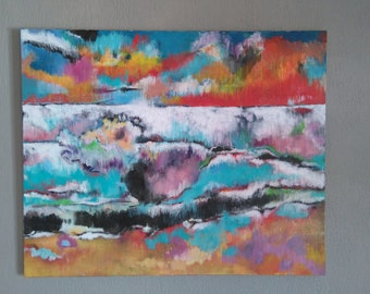 Caribbean Sea 9:37am Mixed media painting