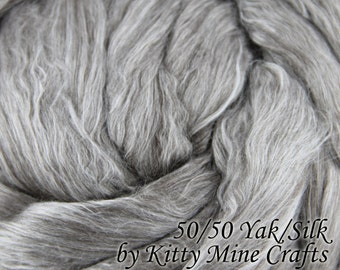 Undyed 50/50 Tibetan Yak/ Cultivated Silk  Roving - Ecru Silver - Luxury Combed Top - Spinning - Felting - Wool Top