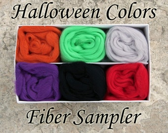 Halloween Colors Wool Sampler Kit - Combed Top - Wool Roving - Halloween - Merino Wool Samples - Felting Kit - Cardable Wool