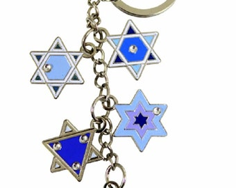 Judaica Keyring Keychain Key Holder 5 Magen David Star