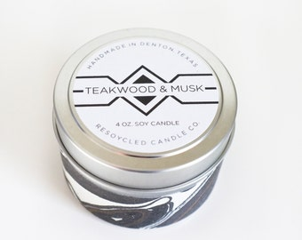 Teakwood & Musk Soy Candle in Travel Tin 4oz